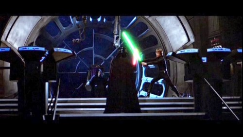 The final battle between Darth Vader and Luke Skywalker in 'Star Wars VI - Return of the Jedi'