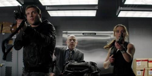 Jai Courtney, J. K. Simmons and Emilia Clarke in 'Terminator Genisys'