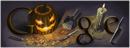 This is the Google Doodle for Halloween 2008, designed by Wes Craven