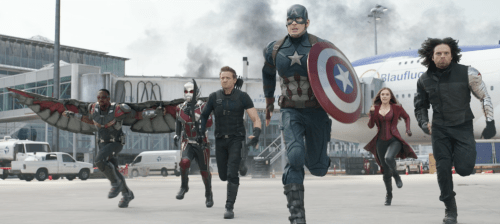 Anthony Mackie, Paul Rudd, Jeremy Renner, Chris Evans, Elizabeth Olsen, Sebastian Stan star in 'Captain America: Civil War'