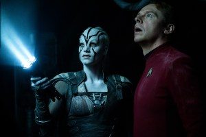 Left to right: Sofia Boutella plays Jaylah and Simon Pegg plays Scotty in 'Star Trek Beyond'
