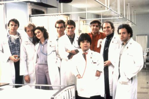 YOUNG DOCTORS IN LOVE, Rick Overton, Michael McKean, Sean Young, Taylor Negron, Ted McGinley, Gary Friedkin, director Garry Marshall, Patrick Collins, Kyle T. Heffner on set, 1982, TM & Copyright (c) 20th Century Fox Film Corp.