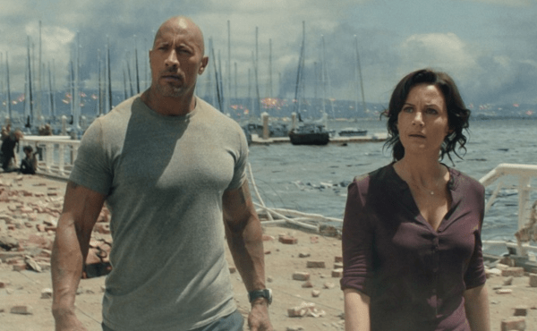 The Rock, with the lovely Carla Gugino, in 'San Andreas'