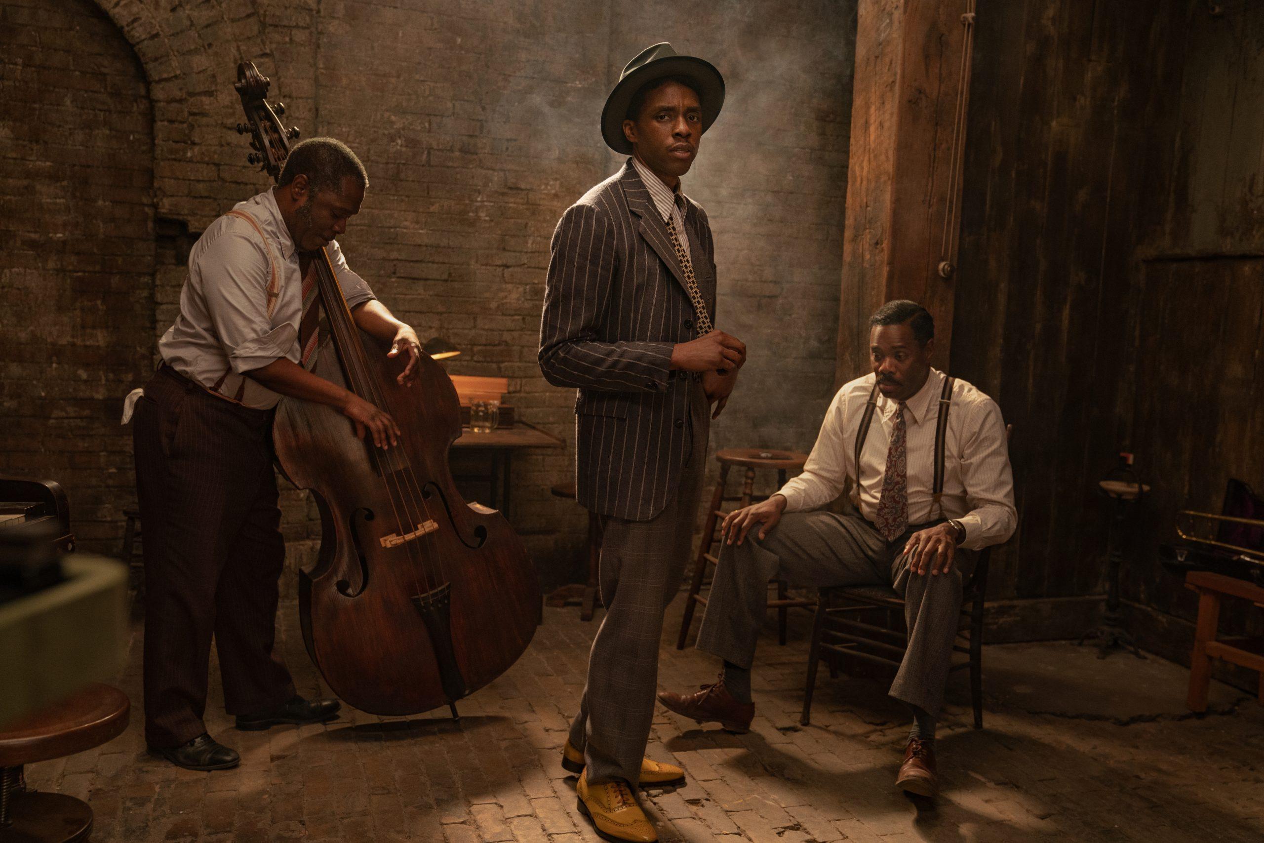From left to right: Michael Potts, Chadwick Boseman and Colman Domingo in 'Ma Rainey's Black Bottom' on Netflix. (David Lee / Netflix)