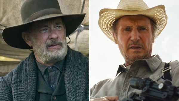 Tom Hanks in 'News of the World' and Liam Neeson in 'The Marksman.'