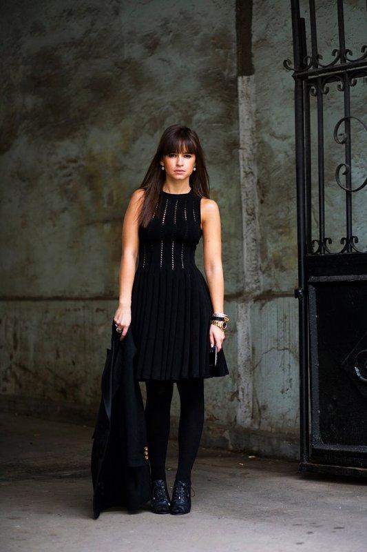Miroslava Duma black dress