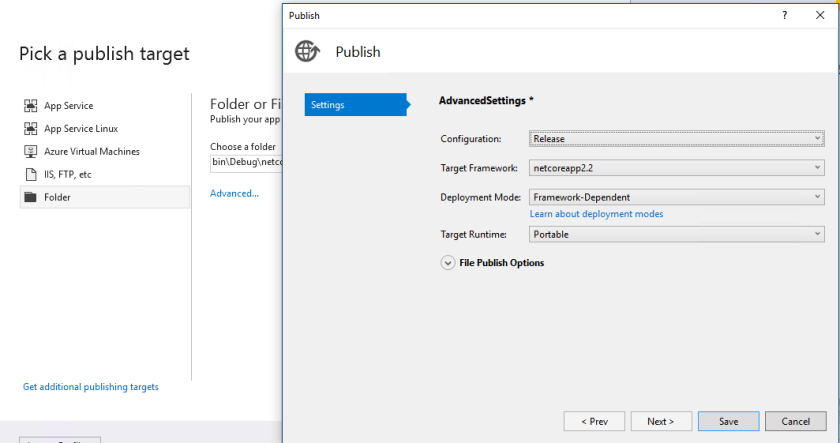 Build and publish an ASP NET core application using Visual
