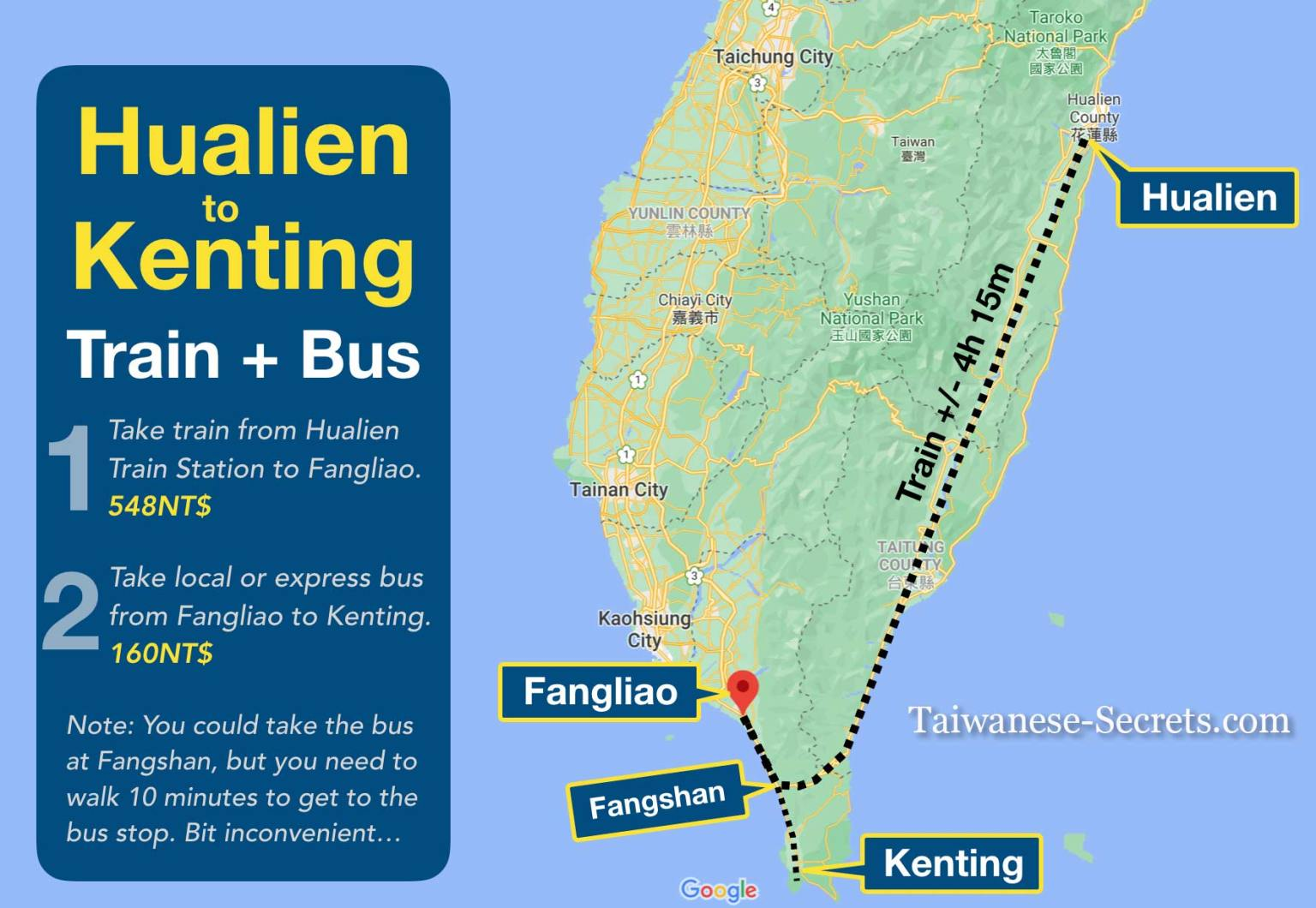 Hualien to Kenting Train Bus