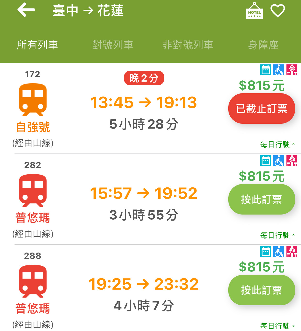 taichung to hualien train schedule and fare