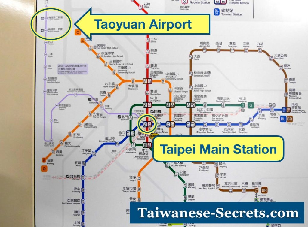 taipei main station to taoyuan airport mrt map