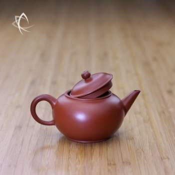 Small Classic Shui Ping Red Clay Teapot Lid Off View