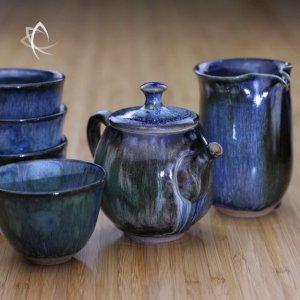 Lava Melt Cobalt Top Teapot with matching Tea Pitcher and Cups