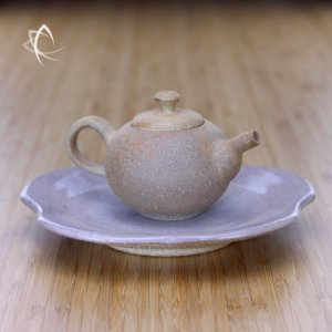 Pumice Clay Teapot with Craquelure Rose Fluted Plate Featured View