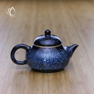 Blue Hare's Fur Gourd Shaped Teapot Featured View