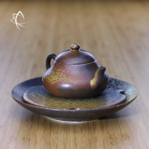 Ash Glazed Stubby Pear Shaped Teapot with Tea Plate Featured View