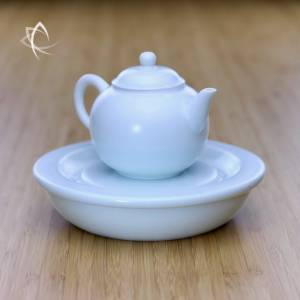Satin Blue Gongfu Teapot with Tea Boat Featured View