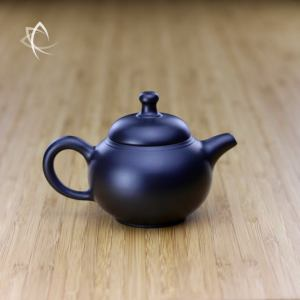 Hand Thrown Black Gourd Shaped Teapot Featured View