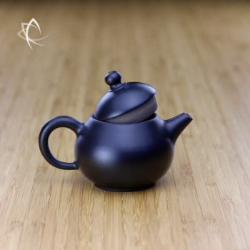 Hand Thrown Black Pear Shaped Teapot Lid Open View