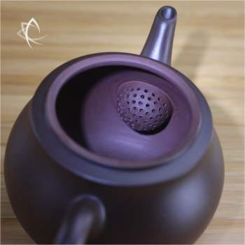 Hand Thrown Refined Purple Clay Teapot Filter View