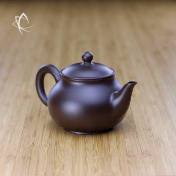 Hand Thrown Elegant Purple Clay Teapot Angled View