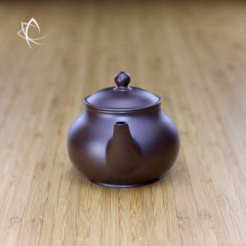 Hand Thrown Elegant Purple Clay Teapot Spout View