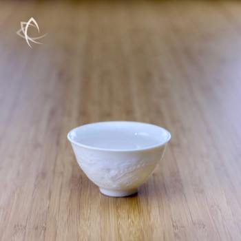 Elegant Tea Cup with Dragon Relief Other Side View