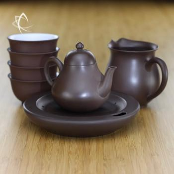 Small Pear-Shaped Purple Clay Teapot, Pitcher and Cup Set Featured View