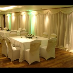 Hire Of Chair Covers Reclining Office With Footrest Uk Wedding Venue Draping | Wall For