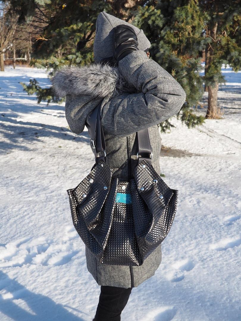 sac noir vegan black vegan handbag leather cuir Montreal ecoresponsable
