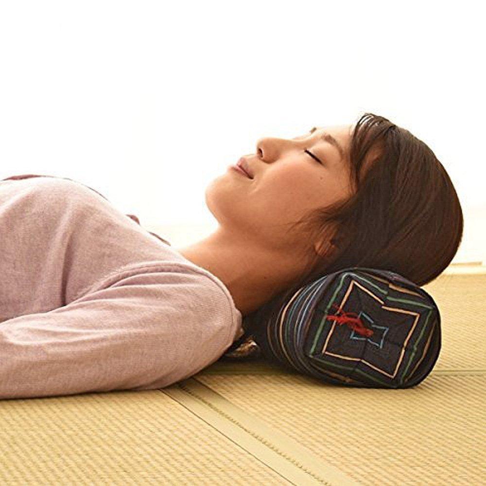 Japanese Sobagara Buckwheat Husk Pillow Dark Red  Made in