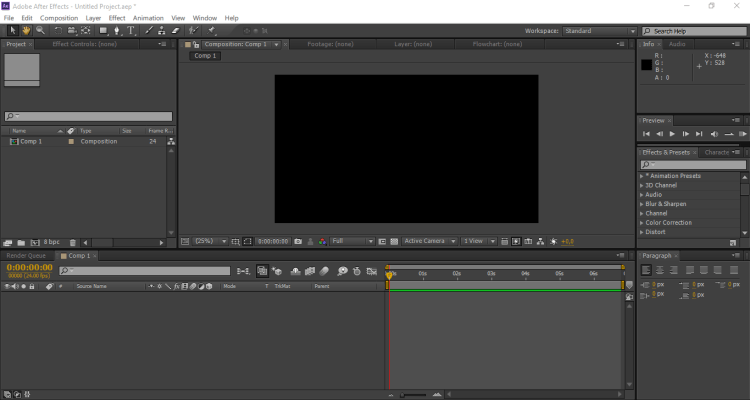 ruang kerja after effect - tutorial slow motion after effects
