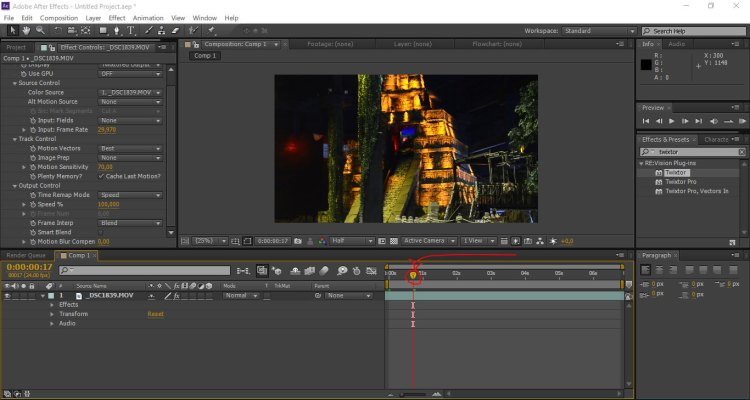 timeline di after effect - tutorial slow motion after effect