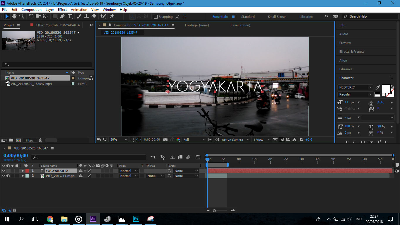 menampilkan teks di video di After Effects