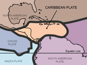 Tectonic plates in Central America, from Wikimedia