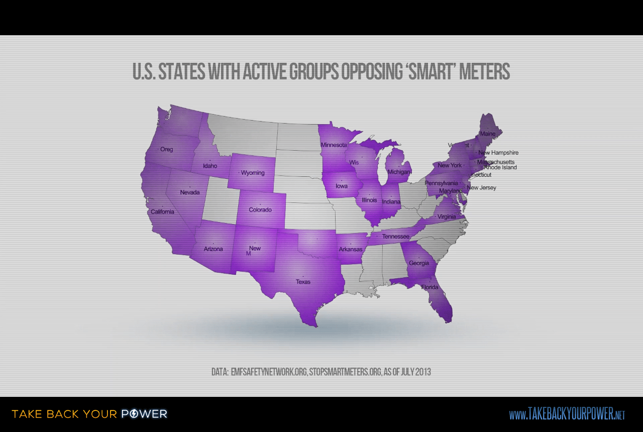 More than 40 US states have aware and active groups, calling out utility and government corruption (scene from Take Back Your Power)