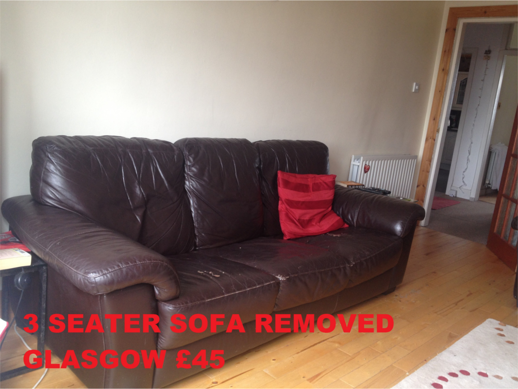 free sofa uplift glasgow mid century modern sectional rubbish waste dump it removal prices typical pricing