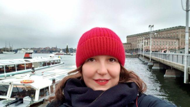 Selfie voor het Koninklijk Paleis Stockholm