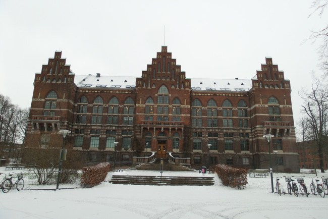 Universiteitsbibliotheek Lund in de winter