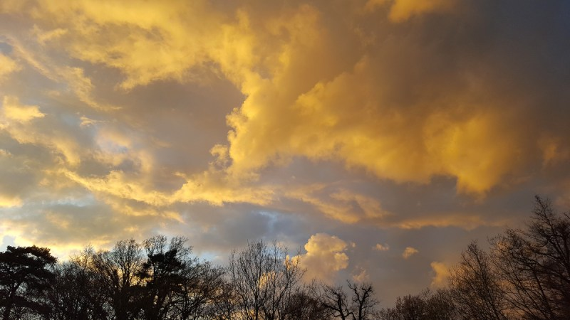 Smartphone photo of yellow clouds just before sunset