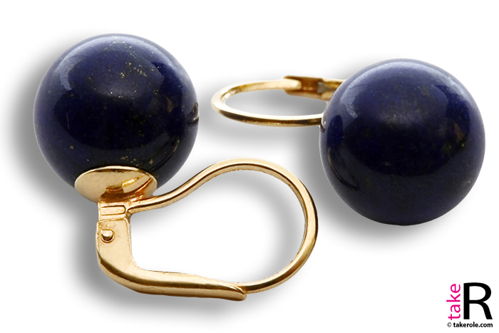 Extra Lapis Earrings 12mm in Gold 18K mmg