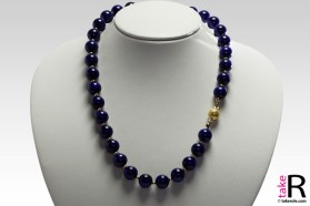 Extra Lapis Necklace 12mm in Gold 18K with 3mm gold dots