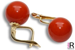 News Jewelry Extra Red Coral Earrings 10¾-11mm