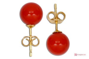 Extra Red Coral Earrings 6½mm in Gold 18K
