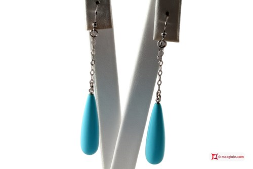 Extra Turquoise Earrings 8x30mm little chain in Gold 18K