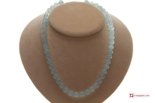 Extra Aquamarine Necklace 9½-10mm round in Gold 18K