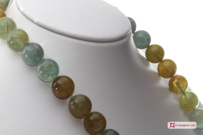Extra Aquamarine Necklace multicolor 14mm round in Gold 18K