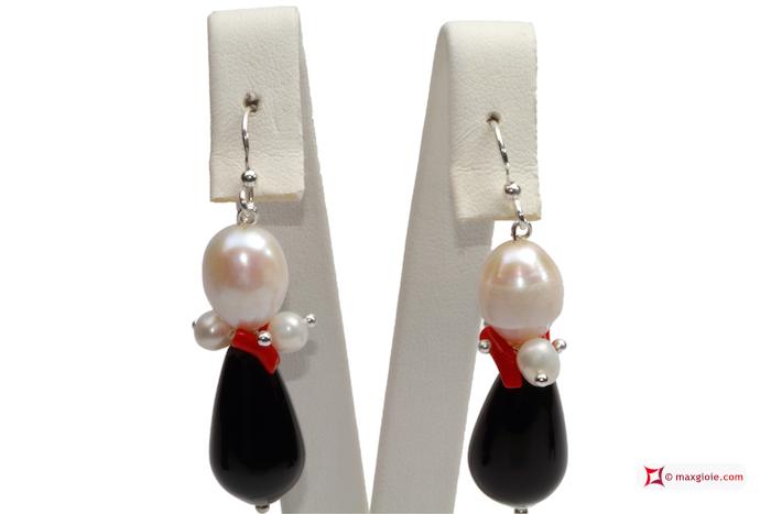 Trendy Earrings red Coral Pearls black Agate in 925 Silver