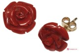 Extra Red Coral Earrings rose 12½mm in Gold 18K [various clasps]