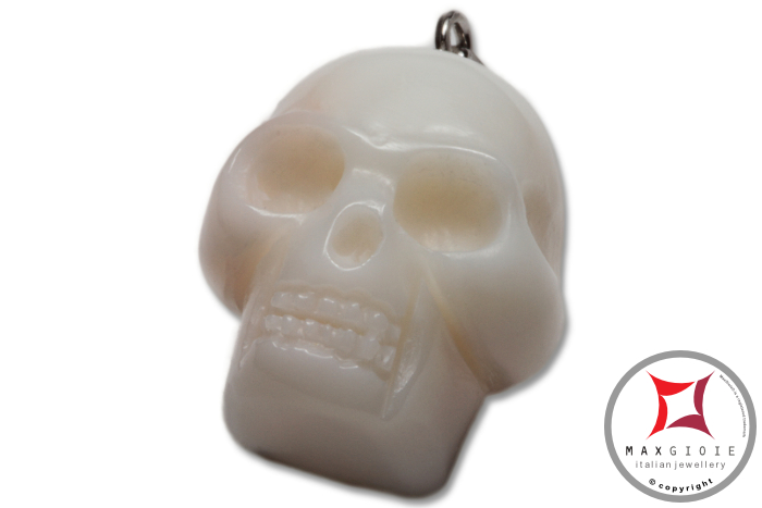 White Coral Pendant Carved Art skull in Gold 18K