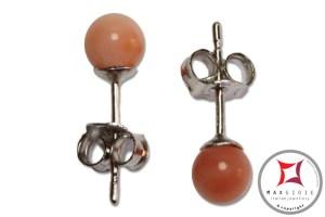Extra Pink Coral Earrings 4½-5mm in Gold 18K [various diameters]